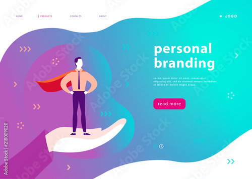 Vector web page template for personal branding, business ...