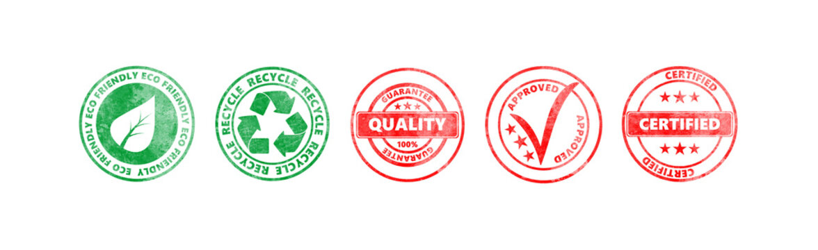 Red and green round stamps with text isolated on white background, banner