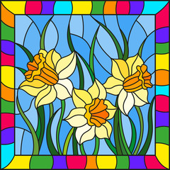 Illustration in stained glass style with yellow daffodils on blue background in bright frame, rectangular image