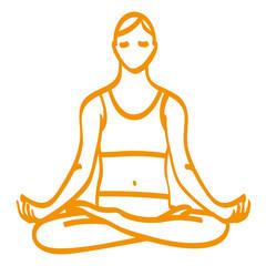 Handgezeichnete Frau im Lotussitz in orange