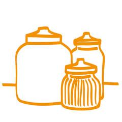 Handgezeichnete Vorratsgläser in orange