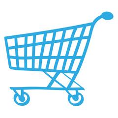 Handgezeichneter Einkaufswagen in blau