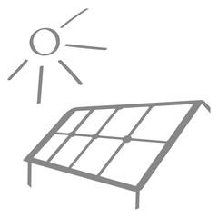 Handgezeichnete Solaranlage in grau