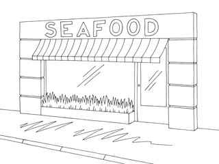 Seafood store shop exterior graphic black white sketch illustration vector