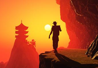 Buddhist temple at dawn.