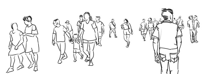 illustration sketch of people walking panorama view isolated on white background