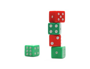 Red and green gambling dice isolated on white background