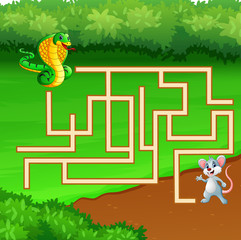 Game snake maze find way to the mouse