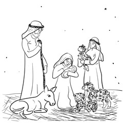 Christmas. Vector illustration of a diva of Mary with a child Jesus in her arms in a manger. Shepherds and Lambs