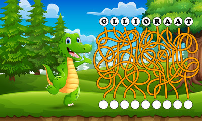 Game alligator maze find way to the word