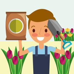 gardener boy with shovel potting soil flowers gardening vector illustration