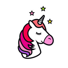 Unicorn icon isolated on white background. Head of the horse with the horn. Magic fantasy animal. Design for children