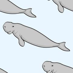 seamless cartoon background, sea animal. Stellers Sea cow, vector