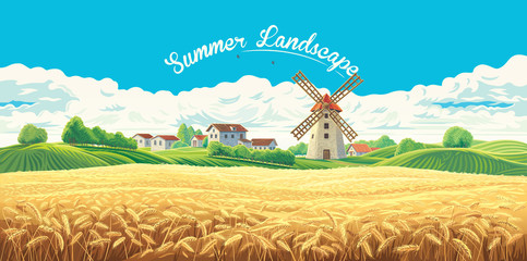 Rural summer landscape with the village and the mill and a large field of wheat.