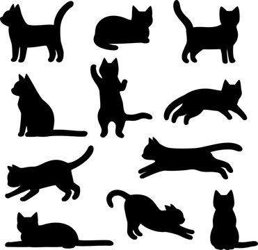 猫のシルエットのイラストセット
