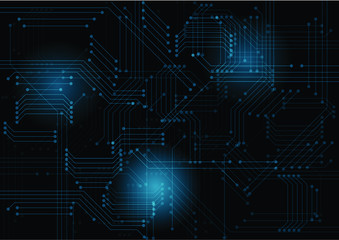 Abstract blue computer technology background with circuit board system , Vector illustration