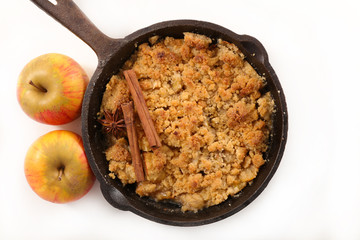 apple crumble on white background