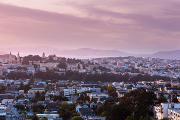 View from Corona Heights Park on east of San Francisco in the dusk