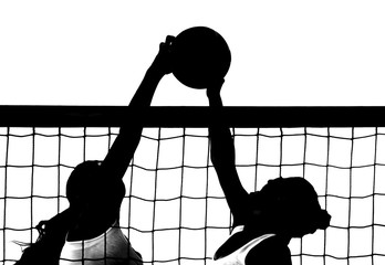 silhouette Volleyball players block