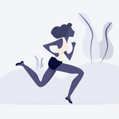 woman Run away in park