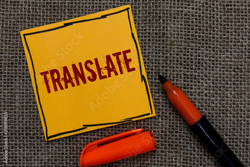 Conceptual Hand Writing Showing Translate Business Photo Showcasing