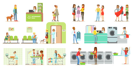 Clients visiting veterinary clinic and laundry shop, people bringing their pets for treatment to veterinarian, interior of vet clinic and laundry vector Illustrations