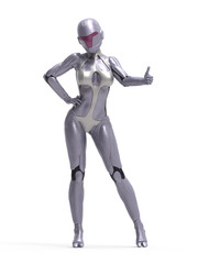 Robotic Cyber Woman Thumbs up 3D Rendering