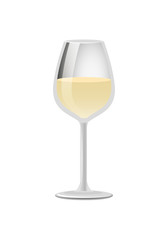 Glass of Elite White Wine Classical Alcohol Drink