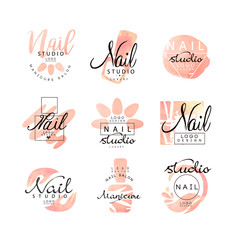 Manicure nail studio logo design set, creative templates for nail bar, beauty saloon, manicurist technician vector Illustrations on a white background