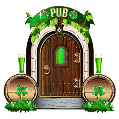 The door to the Irish pub