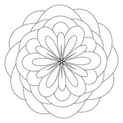 Mandala template with flower in the center, anti stress therapy pattern, coloring book. Raster