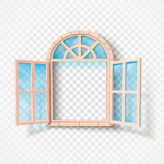 Open window isolated. Wooden frame and glass. Vector illustration