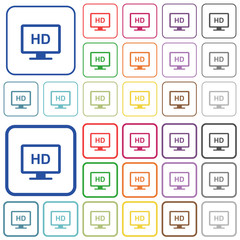 HD display outlined flat color icons
