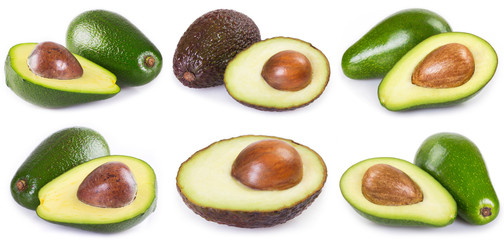 Collection of fresh avocado on white background