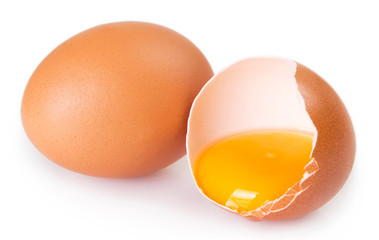 Raw eggs on white background