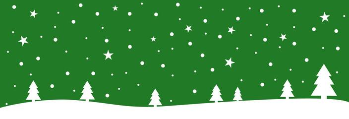 Grüne Weihnachtskarte mit Schneeflocken und Sternen