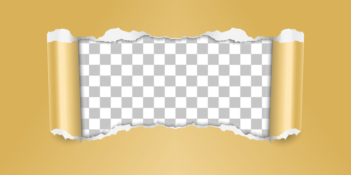 Vector torn paper in golden color with transparent background.