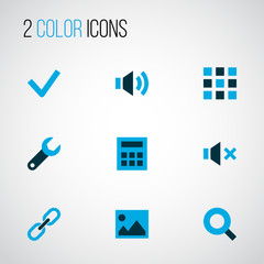 Interface icons colored set with calculator, link, sound and other wrench  elements. Isolated vector illustration interface icons.