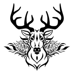 Vector beautiful deer face tattoo sketch or template for t-shirt print design