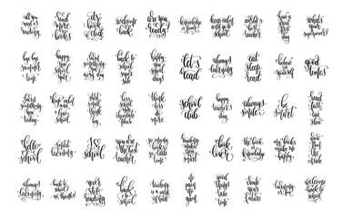 set of 50 hand lettering concept inscriptions text for back to s