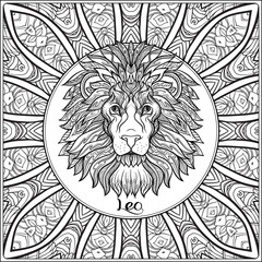 Leo, lion. Decorative zodiac sign on pattern background. Outline hand drawing. Good for coloring page for the adult coloring book Stock vector illustration.