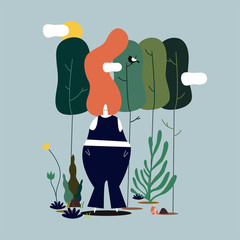 Isolated woman standing in the forest illustration