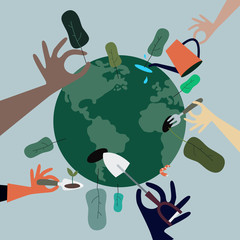 People planting trees all around the world illustration