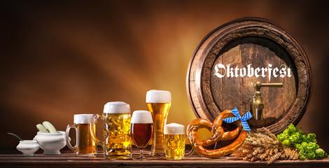 Oktoberfest beer barrel and beer glasses
