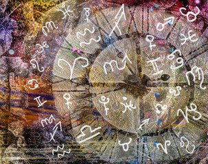 Zodiac signs against the background of the big clock and the moon