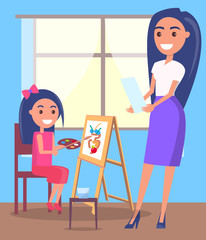 Lesson of Drawing in Arts Class Vector Poster