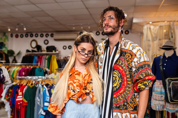 couple posing in shop