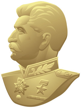 Joseph Stalin realistic vector portrait based on the USSR medal for the Victory over Germany in WW2, Red Army and State leader profile bust in the uniform of a Marshal of the Soviet Union