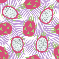 sweet whole dragon fruit and cut dragon fruit tropical exotic fruit pink with seeds pitaya on purple palm leaves background summer seamless pattern vector