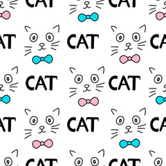 Seamless patterns with faces of the cat and words Cat.